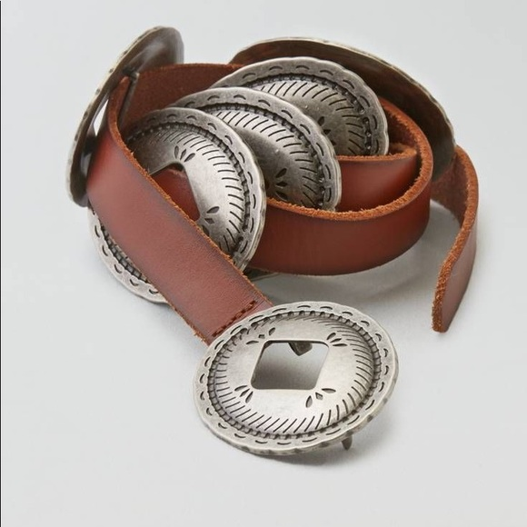 Leather Silver Concho Western Belt
